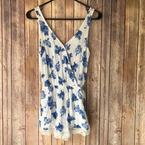 Mimi Chica Nordstrom Blue and White Floral Romper